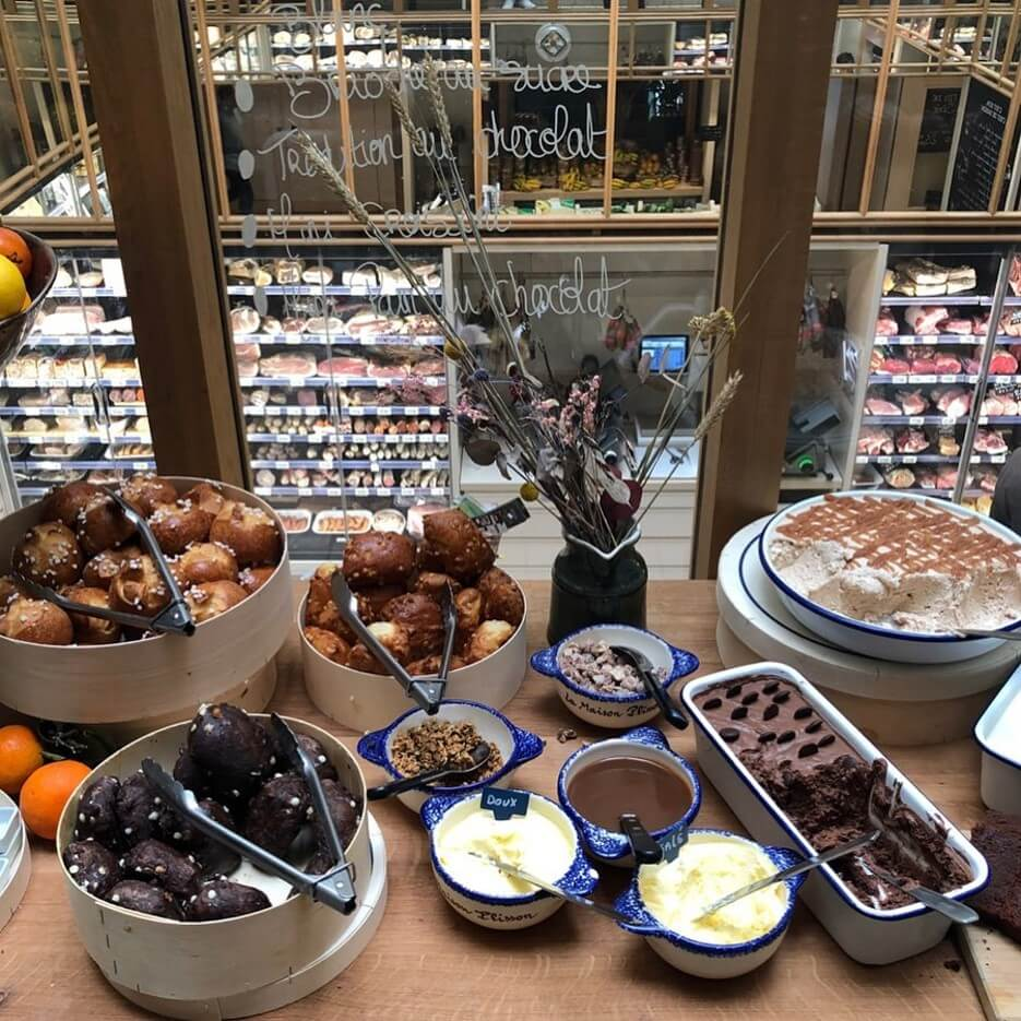 Food items on display at Maison Plisson in the Marais in Paris