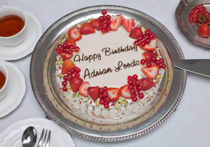 Birthday cake for Adrian Leeds
