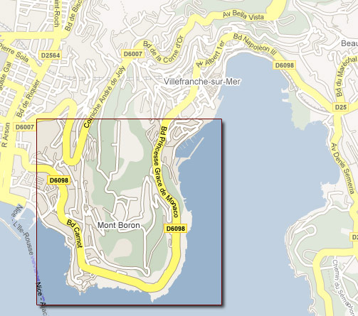 Street map of Mont Boron in Nice France