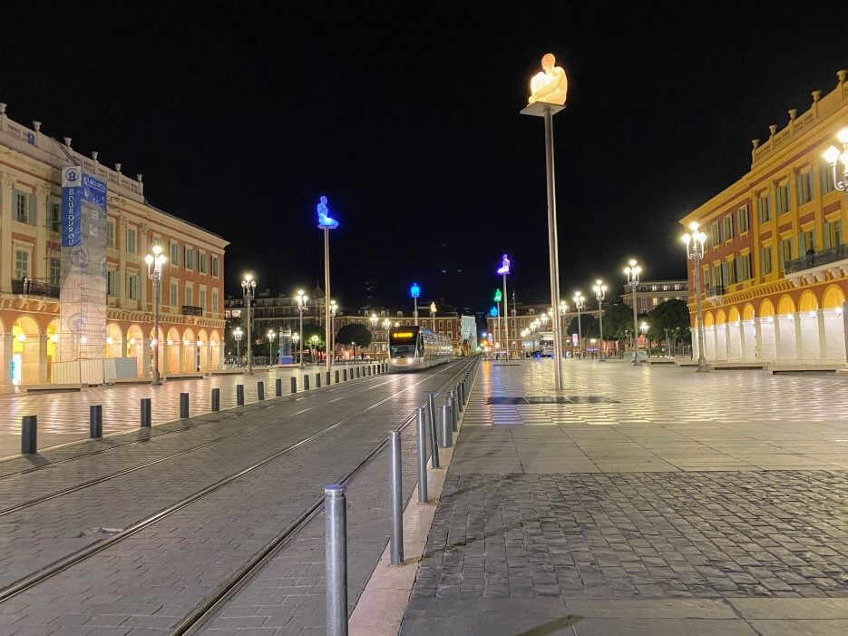 Photo of an empty Place Massena on a Thursday night in Nice France