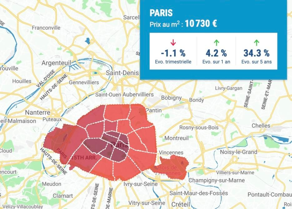Graphic map of home prices in Paris France