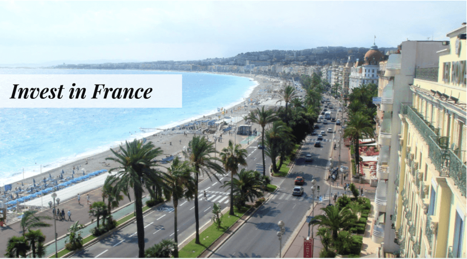 Meme from the Adrian Leeds Group for investing in France, showing the coastline in Nice