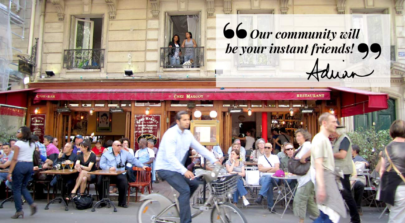 Busy street cafe in Paris France