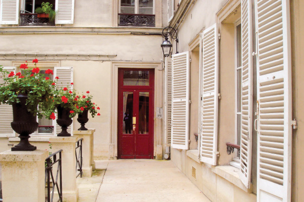 Paris Courtyard with flowers