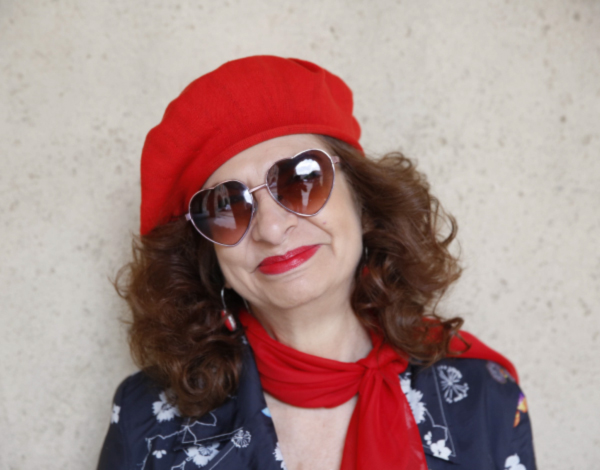 Adrian Leeds sunglasses and red beret
