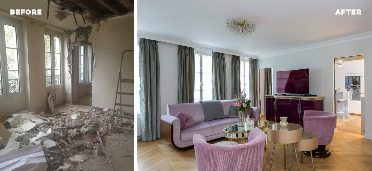 Before and after of a renovated apartment in Paris