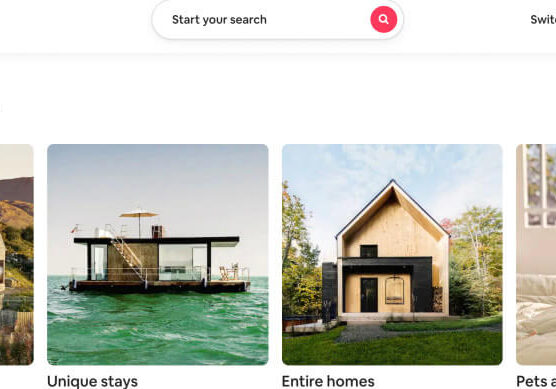 Screenshot of an Airbnb landing page for Live Anywhere