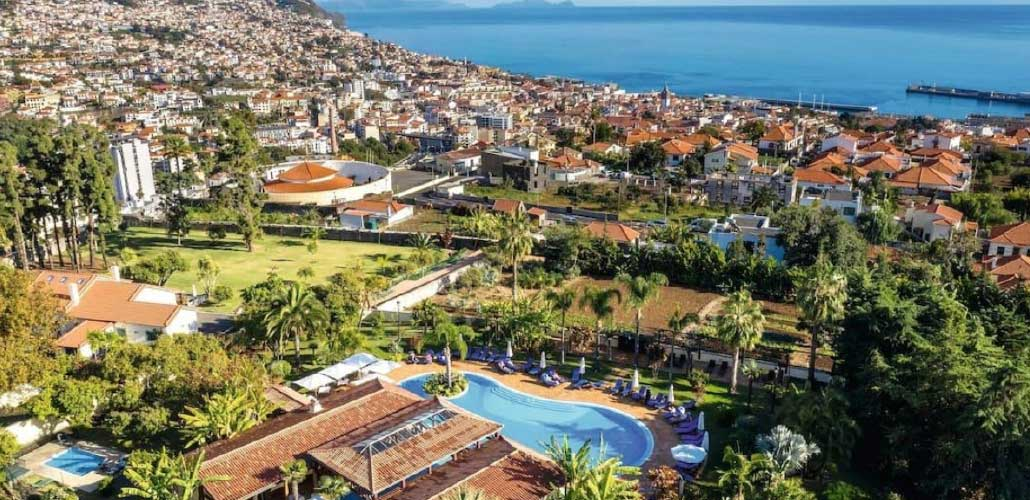View from above of luxury seaside town