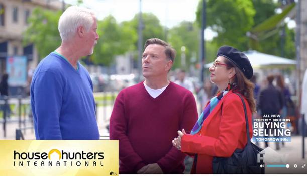 Screenshot of Adrian Leeds on House Hunters International episode